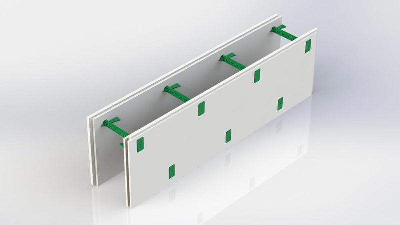 Комблок для внутренних несущих стен, гипс/гипс. Состоит из двух гипсовых панелей которые является уже готовой штукатуркой и семи пластиковых регулируемых перемычек позволяющих регулировать толщину бетонного ядра стены в диапазоне от 100 до 430 мм.