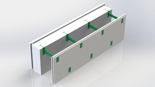 На фото: Комблок 150. Состоит из пенопластовой панели толщиной 150 мм, гипсовой панели которая является уже готовой штукатуркой и семи пластиковых регулируемых перемычек позволяющие регулировать толщину бетонного ядра стены в диапазоне от 100 до 430 мм.
