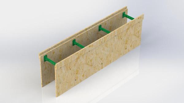 Блок мелкощитовой съемной (многоразовой) опалубки. Состоит из двух панелей из OSB и семи пластиковых регулируемых перемычек позволяющие регулировать толщину бетонного ядра стены в диапазоне от 100 до 430 мм. Панели приобретаются только на два ряда периметра здания.