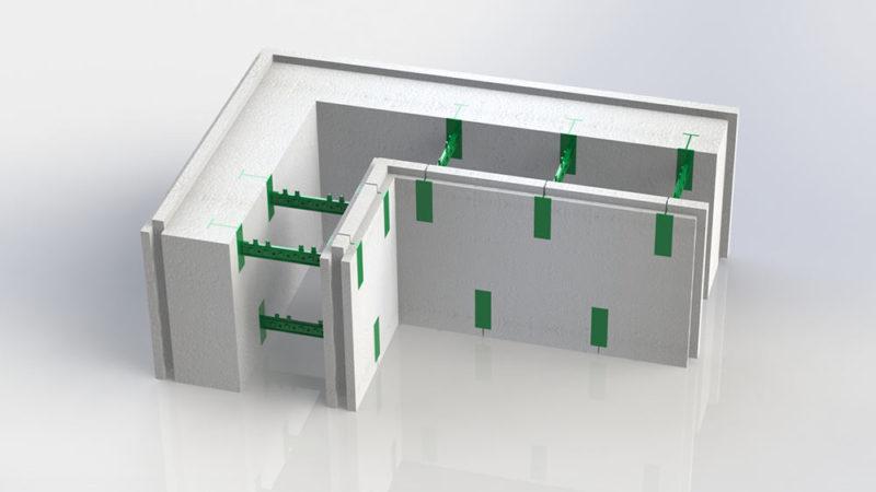 Блок несъемной опалубки - угловой разборной термоблок 150-50