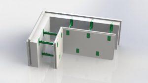 Угловой блок несъемной комбинированной опалубки Комблок 100