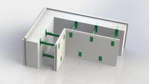 На фото угловой комблок 150. Состоит из угловой пенопластовой панели толщиной 150 мм, двух гипсовых панелей которые является уже готовой штукатуркой и восьми пластиковых регулируемых перемычек позволяющие регулировать толщину бетонного ядра стены в диапазоне от 100 до 430 мм.