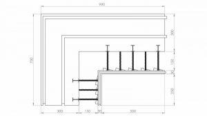 Угловой блок несъемной комбинированной опалубки Комблок 300