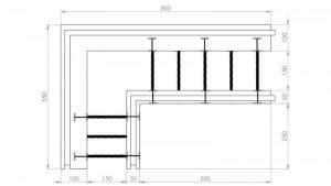 Блок несъемной опалубки - угловой разборной термоблок 100+50