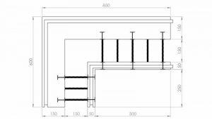 Блок несъемной опалубки - угловой разборной термоблок 150+50